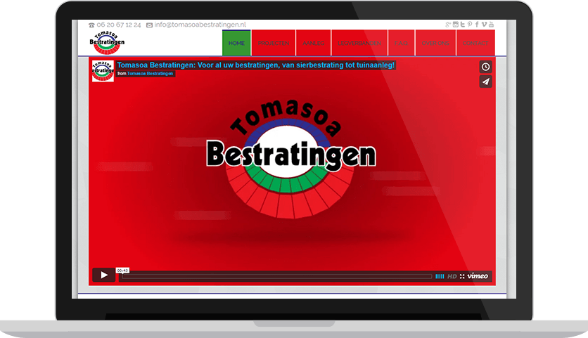 Website ontwerp, marketing en SEO voor project Tomasoa Bestratingen